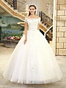 Princess Wedding Dress Floor-length Bateau Tulle with Beading