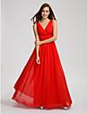 Lanting Bride® Floor-length Chiffon Bridesmaid Dress A-line V-neck with Draping / Side Draping / Criss Cross