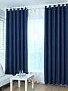 Deux Panneaux Moderne Solide Beige / Bleu chambre d\'enfants Metisse Lin et Polyester Rideaux occultants rideaux