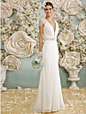 Lanting Bride® A-line Wedding Dress Floor-length V-neck Chiffon / Lace with Bow / Button / Crystal / Lace / Sash / Ribbon