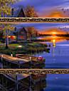 diy 5d diamanter broderi solnedgång skymning magiska kuben runt målning korsstygns kit diamant mosaik heminredning