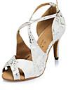 Chaussures de danse(Noir / Blanc) -Personnalisables-Talon Aiguille-Flocage-Latine / Moderne