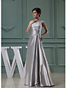 Formal Evening Dress A-line One Shoulder Floor-length Lace / Stretch Satin with Appliques / Beading / Draping / Side Draping