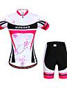 Wosawe® Cykeltröja med shorts Dam Kort ärm CykelAndningsfunktion / Snabb tork / Anatomisk design / 3D Pad / Reflexremsa / Back Pocket /