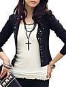 Women\'s White/Black Blazer,Shirt Collar Puff Sleeve