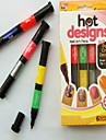 Latest 2 in 1 Brush & Pen 6 colors TV Hot Designs Nail Art Pens Personality Nails Double Nail Polish Pen