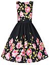 Damă Ieșire Plus Size Vintage Patinatoare Rochie-Floral Imprimeu Fără manșon Rotund Lungime Genunchi Bumbac Toate Sezoanele Talie Medie