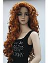 nouvelle mode cheveux cosplay parti femmes perruques cuivre rouge frange longue boucles perruque complete