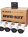 cotier®4ch NVR kit p2p moln NVR 720p / 960p / 1080p / h.264 / vattentät / hd / bullet IP-kamera n4b-mini