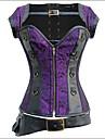 Feminin Corset peste Bust / Plus Size Pijamale Bumbac / Nailon / Polyester / Satin / Spandex / Modal Solid Violet / Negru