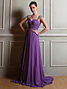 Floor-length Chiffon Bridesmaid Dress Sheath / Column Straps with Beading / Side Draping