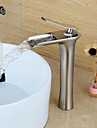 Contemporain Set de centre Cascade with  Valve en ceramique Mitigeur un trou for  Nickel brosse , Robinet lavabo