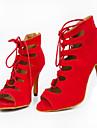 Customizable Women\'s Dance Shoes Latin / Jazz Shoes / Salsa / Samba Flocking Customized Heel Black / Blue / Purple / Red