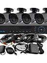 yanse® 4ch 960h 1000tvl CCTV DVR kit ir kamera färg vattentät övervakningskameror systemet 3.6mm s6624cf04