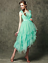 Asymmetrical Tulle Bridesmaid Dress A-line Scoop with Appliques / Flower(s)