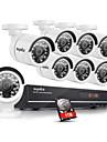sannce® 8ch AHD-720p DVR-inspelare med 1TB hdd dag natt väder hemsäkerhet kamerasystem