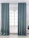 Deux Panneaux Moderne Solide Bleu Chambre a coucher Metisse Lin et Polyester Panneau Rideaux rideaux