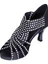 Non Customizable Women\'s Dance Shoes Latin Satin Cuban Heel Black/Blue/Yellow