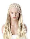 mode syntetiska peruker spets front peruker 32inch flätade gul värmebeständigt hår peruker kvinnor