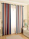 Deux Panneaux Le traitement de fenetre Moderne , Rayure Chambre a coucher Melange Poly/Coton Materiel Rideaux TenturesDecoration