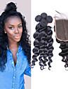 Trame cheveux avec fermeture Cheveux Bresiliens Ondulation Lache 12 mois 4 Pieces tissages de cheveux