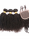 7a grade bästa kinky lockigt hår buntar med stängning, människohår väft med spets stängning 4 st / lot ingen härva&shedding