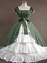 Une Piece/Robes Gothique Lolita Classique/Traditionnelle Steampunk® Cosplay Vetrements Lolita Couleur Pleine Sans manche Long Robe Pour