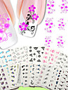 50pcs ongles transfert d\'eau d\'art autocollants 50 pcs / set conception clou fleur emballage autocollant-nu different