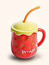 sugrör kreativa söt pitaya stil keramikmugg kopp
