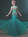 Formal Evening Dress - Vintage Inspired Trumpet / Mermaid Bateau Floor-length Tulle with Appliques Pearl Detailing Sash / Ribbon