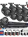 sannce® 720 AHD 8ch CCTV-inspelning DVR svart kula kamera hem säkerhetsövervakning kamerasystem 1tb hdd