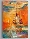 oljemålning intryck liggande båtar handen målade med sträckte inramade redo att hänga