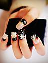 24pcs / som falsk naglar falska spik färdiga manikyr naglar tips svart snö
