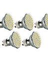 Lampadas de Foco de LED GU10 3W 240 LM 2700K K Branco Quente 60 SMD 3528 5 pcs AC 220-240 V MR16