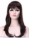mode mörkbrunt lång rak kvinna syntetiska peruker hår