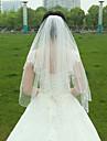 Voal de Nuntă Două Straturi Voaluri Lungime Până la Vârfurile Degetelor Margine cu Mărgele Tul Alb