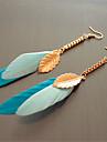 Cercei Picătură La modă Bohemia Stil Pană Aliaj Leaf Shape Pană Albastru Bijuterii Pentru Petrecere Casual 1 pereche