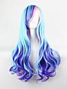 harajuku dagliga lolita / lolita gradient lockigt hår blå färg mix rosa cosplay peruk 28inch