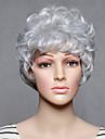 Capless korta syntetiska vita vågiga syntetiska womens peruker