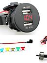 iztoss 2.1a&2.1a vattentät dubbla USB-laddare mobiltelefon laddare eluttaget med voltmeter rött ljus