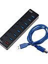 USB 3.0 7 + 1 portar / gränssnitt USB-hubb med separat brytare hög hastighet 19 * 3,4 * 1,5