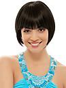kort bob högkvalitativa syntetiska naturligt svart rakt hår peruk fullt bang