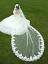 Wedding Veil One-tier Fingertip Veils / Cathedral Veils Lace Applique Edge Tulle White