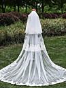 Voal de Nuntă Trei niveluri Voaluri de Catedrală Margine cu Aplicație de Dantelă Tul Dantelă Ivoriu