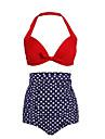 Bikini Cu Susținere Talie Înaltă Buline Retro Push-up Nailon Polyester