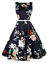 Vestito Da donna Linea A Vintage Fantasia floreale Al ginocchio Rotonda Cotone