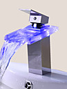 Contemporain Set de centre LED / Cascade with  Valve en ceramique Mitigeur un trou for  Chrome , Robinet lavabo