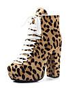 Homme-Habille Decontracte Soiree & Evenement-Noir Blanc Leopard-Gros Talon Plateforme-A Plateau Bottes a la Mode-Bottes-Poils Crin de