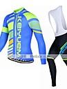 KEIYUEM® Maillot et Cuissard Long a Bretelles de Cyclisme Unisexe Manches longues VeloRespirable / Garder au chaud / Sechage rapide /