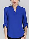 Damă În V Bluză Muncă Plus Size Simplu(ă),Culoare solidă Manșon Lung Primăvară Vară Toamnă-Subțire Poliester